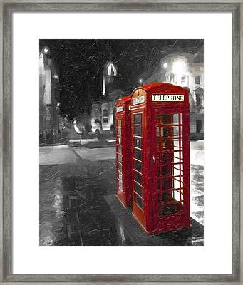 Red British Phone Box On The Streets Of Edinburgh Framed Print by Mark E Tisdale