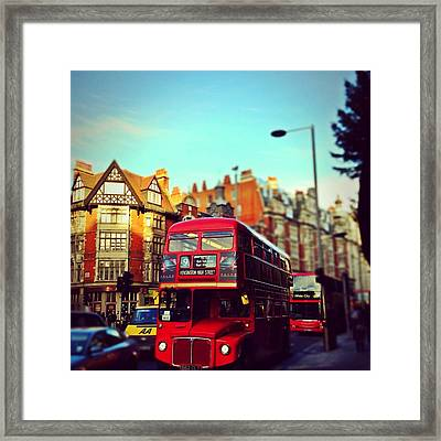 Red Bus On High Street Kensington Framed Print by Maeve O Connell