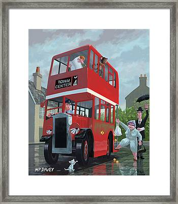 Red Bus Stop Queue Framed Print