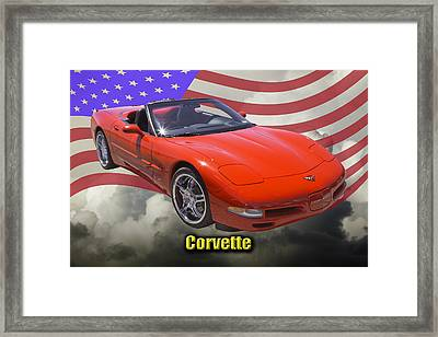 Red C5 Corvette Convertible Muscle Car Framed Print by Keith Webber Jr