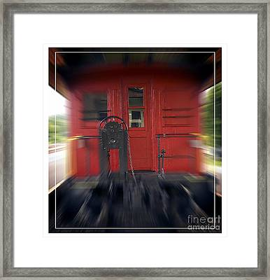 Red Caboose Framed Print by Edward Fielding