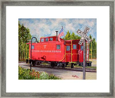 Red Caboose Framed Print by Huy Lee