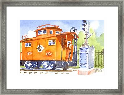 Red Caboose With Signal  Framed Print by Kip DeVore