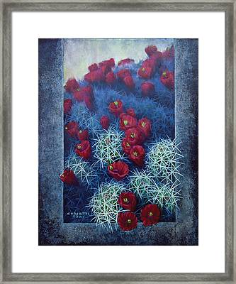 Framed Print featuring the painting Red Cactus by Rob Corsetti