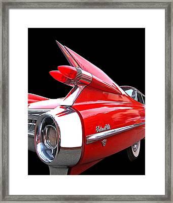 Red Cadillac Sedan De Ville 1959 Tail Fins Framed Print