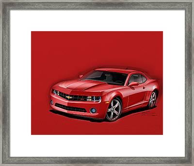 Red Camaro Framed Print by Etienne Carignan