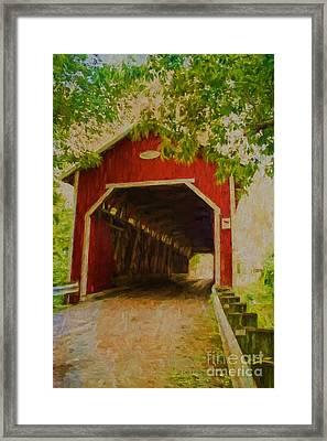 Red Canadian Bridge Framed Print