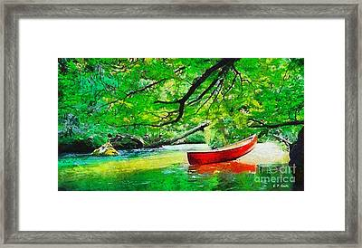 Red Canoe Framed Print by Elizabeth Coats
