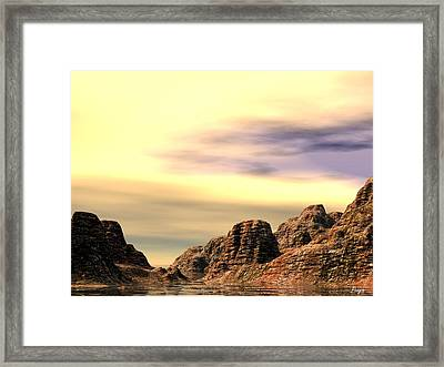 Framed Print featuring the digital art Red Canyon Cove by John Pangia