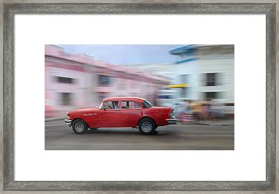 Red Car Havana Cuba Framed Print