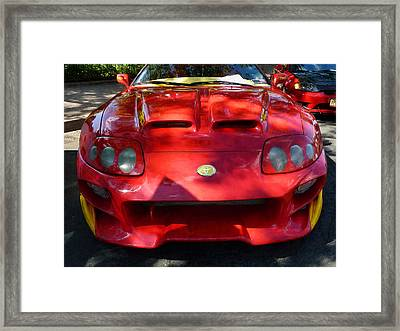 Red Car In Dappled Sunshine Framed Print by Susan Savad