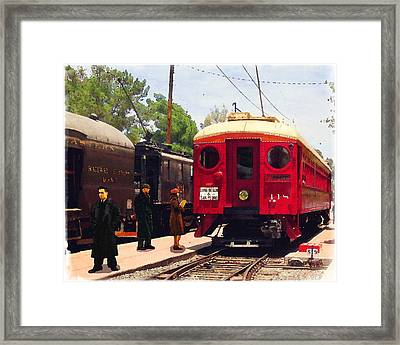 Red Car Long Beach And San Pedro Framed Print by Timothy Bulone