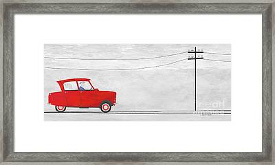 Red Car On Telegraph Road Framed Print by J Ripley Fagence