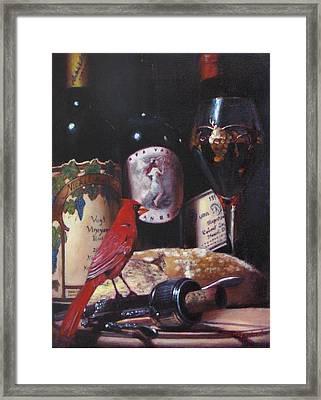 Red Cardinal Red Wine Sin Framed Print by Takayuki Harada