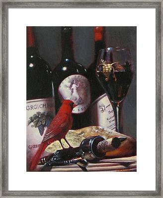 Red Cardinal With Red Wine 2 Framed Print by Takayuki Harada