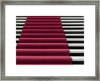 Red Carpet On Stairs Framed Print