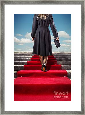 Red Carpet Stairway Framed Print by Carlos Caetano