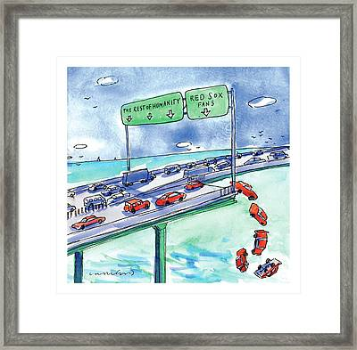 Red Cars Drop Off A Bridge Under A Sign That Says Framed Print by Michael Crawford