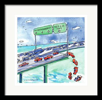 Red Cars Drawings Framed Prints