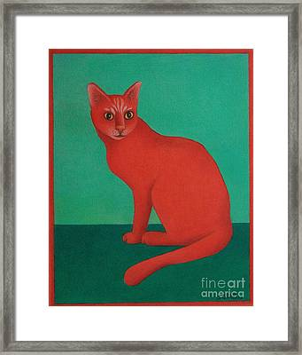 Framed Print featuring the painting Red Cat by Pamela Clements