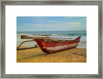 Red Catamaran At The Hikkaduwa Beach Framed Print by Regina Koch