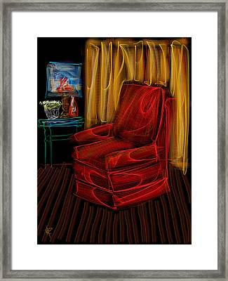 Red Chair At Night Framed Print
