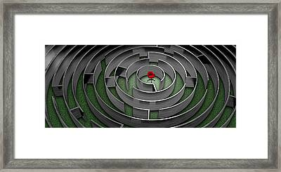 Red Chair In Middle Of Maze Framed Print