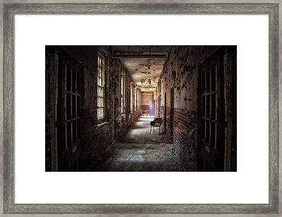 Red Chairs Purple Doors Framed Print