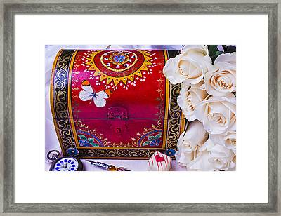 Red Chest And Butterfly Framed Print by Garry Gay