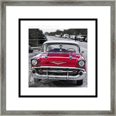 Red Chevy Bel Aire Original Signed Mini Framed Print by Edward Fielding
