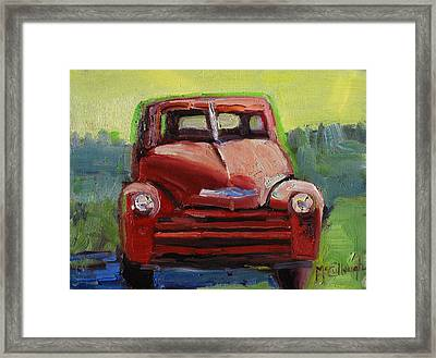 Red Chevy Framed Print by Susan McCullough
