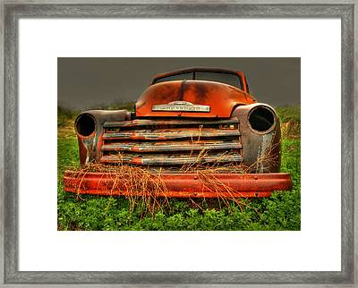 Red Chevy Framed Print by Thomas Young