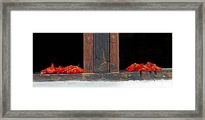Red Chilies Drying On Window Sill Framed Print by Panoramic Images