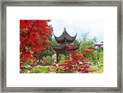 Red - Chinese Garden With Pagoda And Lake. Framed Print