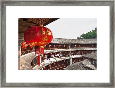Red Chinese Lantern In A Hakka Tulou  Framed Print