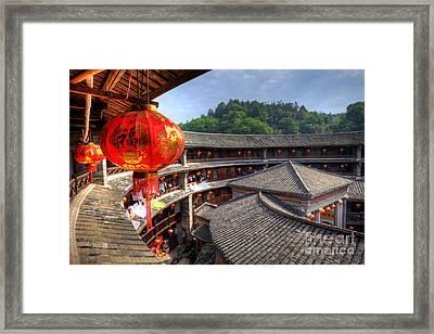 Red Chinese Lantern In A Hakka Tulou  Fujian Framed Print by Fototrav Print