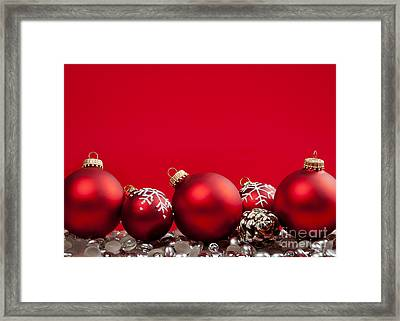 Red Christmas Baubles And Decorations Framed Print