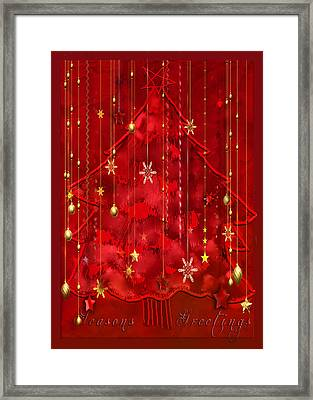 Framed Print featuring the digital art Red Christmas Tree by Arline Wagner