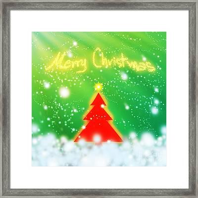 Red Christmas Tree Framed Print by Atiketta Sangasaeng