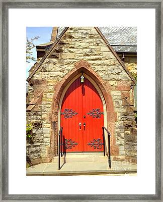 Framed Print featuring the photograph Red Church Door by Becky Lupe