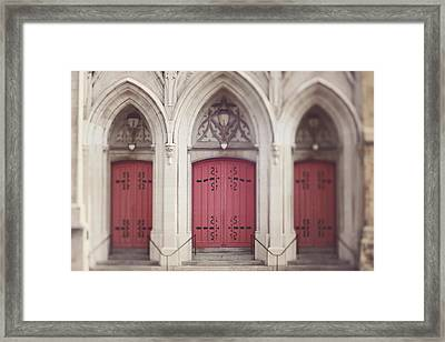 Framed Print featuring the photograph Red Church Doors by Heather Green