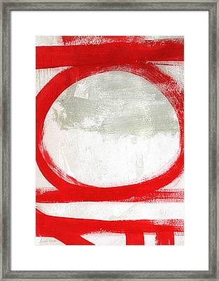 Red Circle 2- Abstract Painting Framed Print by Linda Woods