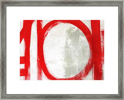 Red Circle 3- Abstract Painting Framed Print by Linda Woods