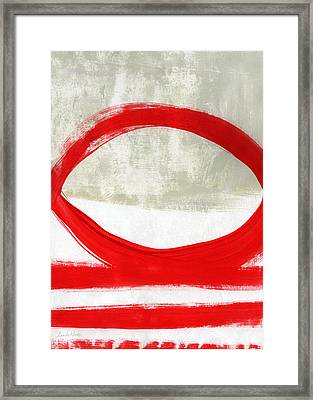 Red Circle 4- Abstract Painting Framed Print by Linda Woods