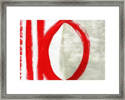 Red Circle 5- Abstract Painting Framed Print by Linda Woods