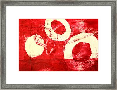 Red Circles Abstract Framed Print