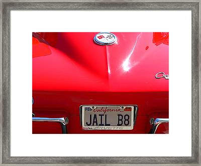 Framed Print featuring the photograph Red Classic Corvette Jail Bait by Jeff Lowe