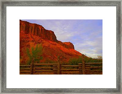 Red Cliffs Near Moab Ut Framed Print by Jerry Cahill