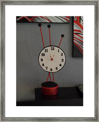 Red Clock Framed Print