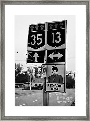 red coat trail highway 35 weyburn Saskatchewan Canada Framed Print by Joe Fox